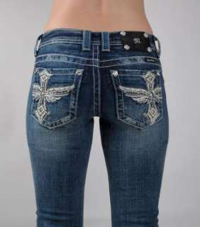 MISS ME New LEATHER Studs Crystal PHOENIX Angel Wings & Cross Jeans 27