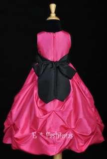 FUCHSIA BLACK WEDDING FLOWER GIRL DRESS SM L 2 4 6 8 10