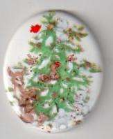47x39mm Porcelain Cameo w/ Christmas Tree & Animals