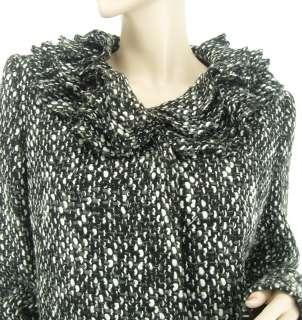 Woven Black White Grey Multi Womens Ruffle Collar Coat US 6   8