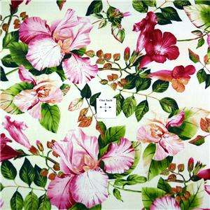 FabriQuilt Cotton Fabric Lovely Large Pink Flowers FQs