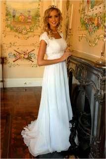 Short sleeves High neck WHITE wedding dress/gown 4 6 16