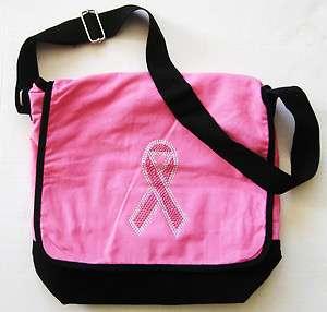Pink Rhinestone Breast Cancer Awareness Ribbon MESSENGER BAG