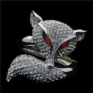 Rare Animal Fox Bracelet Bangle Clear Swarovski Crystal