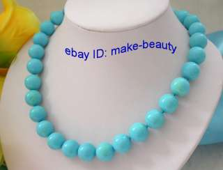 stunning 14mm round natural blue turquoise beads necklace