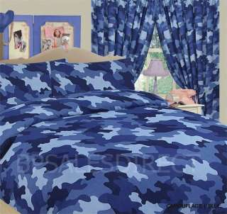 BLUE ARMY CAMOUFLAGE DUVET COVER & PILLOWCASE BEDDING SET