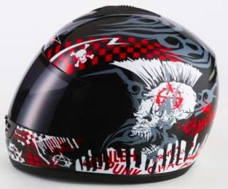 CAN V190 PUNK MOTORCYCLE MOTORBIKE HELMET RED XLARGE