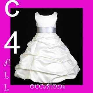 WEDDING COMMUNION BRIDAL FLOWER GIRL DRESS IVORY/SILVER 2 4 5 6 8 10