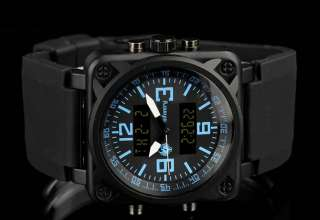 INFANTRY Digital LCD Military Black Sports Mens Wrist Watch Rubber