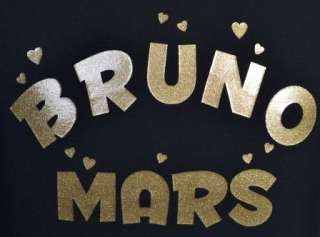 BRUNO MARS NEW BLACK T SHIRT With GOLD GLITTER 5 15