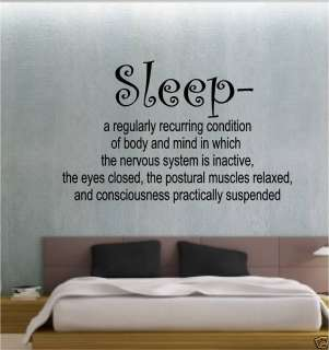 SLEEP DEFINITION BEDROOM STICKER WALL ART VINYL QUOTE