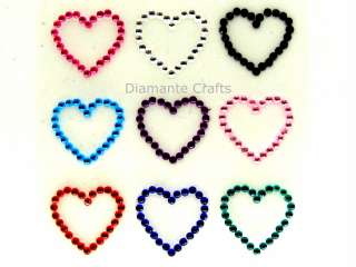 diamante HEARTS rhinestone body gem CLEAR, HOT PINK, RED or MIXED