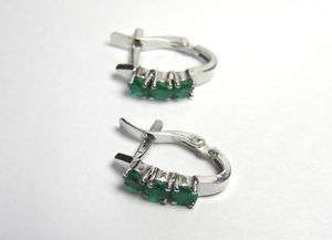 NATURAL COLOMBIA EMERALD HUGGIE EARRINGS 18K WHITE GOLD