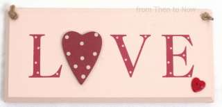 Red Spotty Polka Dot Wooden Heart Love Plaque Sign