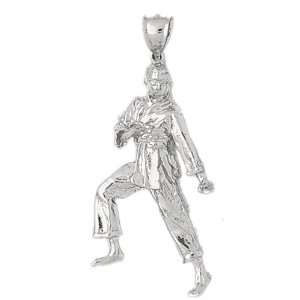 White Gold Pendant Karate Inspired 9   Gram(s) CleverSilver Jewelry