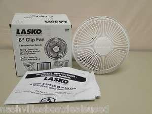 Lasko Adjustable 6 Inch White Clip Fan 2004W
