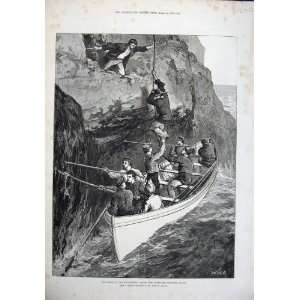 1876 Fine Art Wreck Strathmore Men Boat Sea Rock Joslen