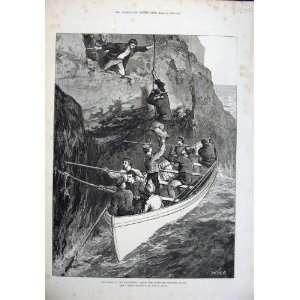 1876 Fine Art Wreck Strathmore Men Boat Sea Rock Joslen