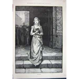 1891 Antique Print Marguerite Beautiful Lady Woman Art: