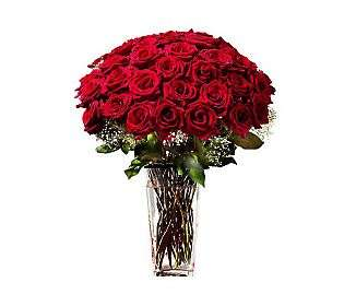 Three Dozen Red Roses with Vase by ProFlowers   QVC