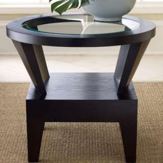 Living Fairfax Round Glass End Table in Espresso   FR 7010 0230