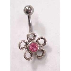 Pink Gem Flower Petal Silver Belly Ring: Everything Else