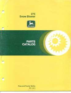 John Deere 275 Snow Blower Parts Catalog