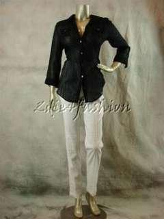225 New ELIZABETH & JAMES Sheer Black Stripe Back Zipper Cotton Shirt