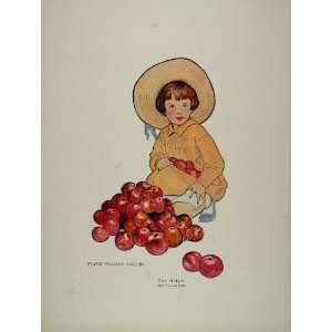 ORIGINAL 1914 Jessie Willcox Smith Child Girl Apples   Original Color