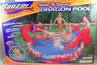 NEW BANZAI Slide N Spray DRAGON Inflatable Splash Swimming Pool Kids
