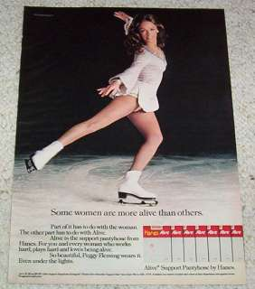 1974 Hanes Alive pantyhose  ice skater PEGGY FLEMING Ad