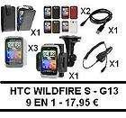 9EN1  HTC WILDFIRE S G13   3 X FUNDA, CARGADOR, SOPORTE COCHE, 3 X