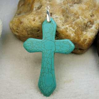 Fashion Turquoise Stone Beads Cross Pendant Necklace FS