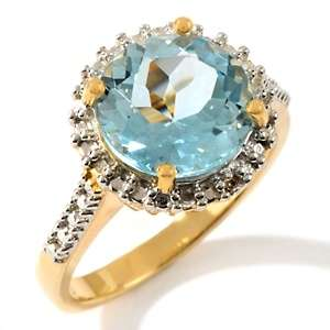 Technibond® Blue Topaz and Diamond Accented Round Ring