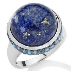 Blue Lapis and Swiss Blue Topaz Sterling Silver Ring