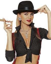 Womens Black Gangster Girl Hat   Gangsta Costume Accessories