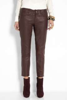 Vanessa Bruno Athe  Red Leather Skinny Crop Trousers by Vanessa Bruno