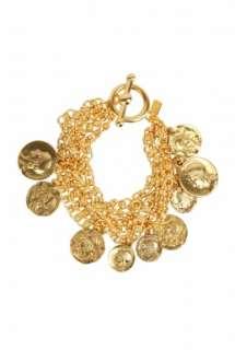 Gold Coin Bracelet by Kenneth Jay Lane   Metallic   Buy Jewellery