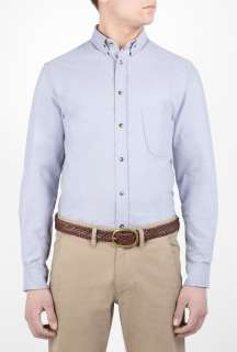 Heritage Research  Blue Oxford Curve Pocket Shirt by Heritage
