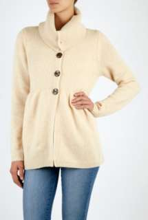 Madeleine Thompson  Oatmeal Cashmere Rolled Funnel Neck Cardigan by