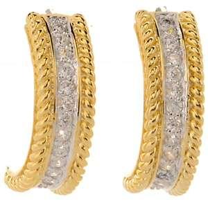Justine Simmons Jewelry 2 Tone Pavé Half Hoop Earrings