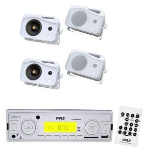 Pyle Marine Radio Receiver and Speaker Package   PLMR89WW AM/FM