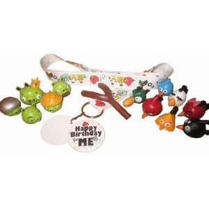 Angry Birds & Pigs Birthday Badge & Lanyard & 13 Pc Cake Toppers