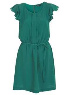 Miss Selfridge   Green Crepe Pintuck Dress