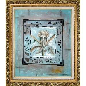 in a Frame Oil Painting, with Ornate Antique Dark Gold Wood Frame