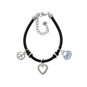 Blue Baby Bib Black Peace Love Charm Bracelet Arts, Crafts & Sewing
