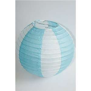 Lumi Lantern Battery operated, white with blue stripes