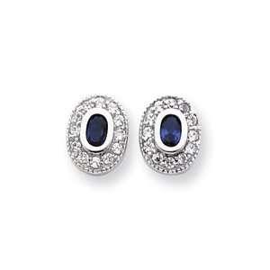 Rhodium plated September Birthstone Oval CZ Earrings