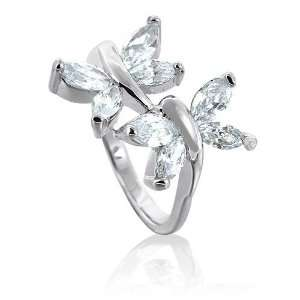 Bling Jewelry Sterling Silver CZ Double Butterfly Ring Jewelry