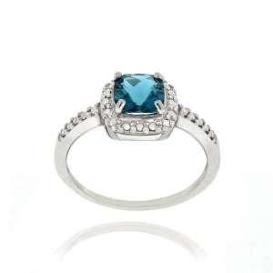 Silver London Blue Topaz & Diamond Accent Square Ring Jewelry
